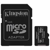 карта памяти microsdxc 64gb kingston canvas select plus,uhs-i u1,100 мб/с(class 10),адап, sdcs2/64gb