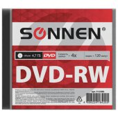 диск dvd-rw (минус) sonnen 4,7gb 4x slim case (1 штука), 512580