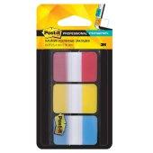 закладки клейкие post-it professional, пластик, 25 мм, 3 цв*22 шт., суперклейкие, 686-ryb-ru