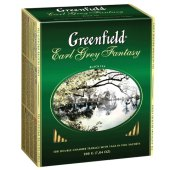 "чай greenfield ""earl grey fantasy"", черный с бергамотом, 100 пакетиков в конвертах по 2г, ш/к 05848"