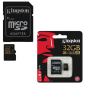 карта памяти microsdhc 32gb kingston gold, uhs-i u3, 90 мб/сек (class 10), с адаптером, sdcg/32gb