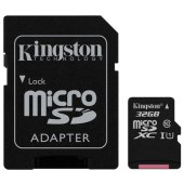 карта памяти microsdhc 32gb kingston canvas select, uhs-i u1, 80 мб/с (class 10), адаптер, sdcs/32gb