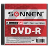 диск dvd-r sonnen 4,7gb 16x slim case (1 штука), 512575
