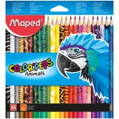 "карандаши maped ""color peps animals"", 24цв., трехгран., заточен., картон, европодвес"