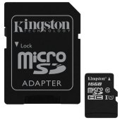 карта памяти microsdhc 16gb kingston canvas select, uhs-i u1, 80 мб/с (class 10), адаптер, sdcs/16gb