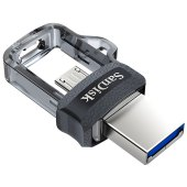 "память sandisk usb flash ""otg dual drive""  32gb, usb3.0/microusb, flash drive, черный"